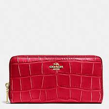 COACH f53836 ACCORDION ZIP WALLET IN CROC EMBOSSED LEATHER IMITATION  GOLD CLASSIC RED