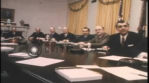Nixon Administration Cabinet Us President Richard Nixon And Cabinet Members Seated At The