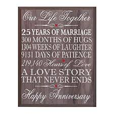 lifesong milestones 25th wedding anniversary wall plaque gifts for couple 25th anniversary gifts for her