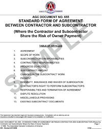 with material construction agreement appendix l agc document 655 standard form of agreement between