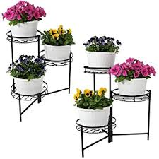 Sunnydaze Black Three-Tiered Indoor/Outdoor Plant Stand, 22 Inch, Set of