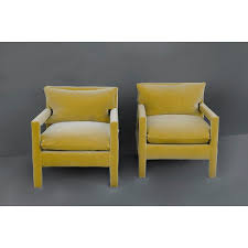 yellow parsons chair. Plain Yellow Exceptional Pair Of 1970u0027s Parson Style Lounge Chairs After Milo Baughman  Newly Upholstered In A With Yellow Parsons Chair 0