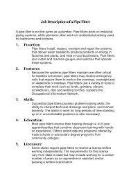 Job description of a pipefitter