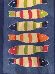 picket fish blue rug