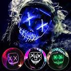 <b>Party Halloween Purge</b> Mask Light Up Scary Mask EL Wire LED ...