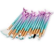 fish makeup brush set eyeshadow blush base foundation powder blending unicorn make up cosmetic tool fishl