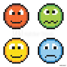 Wall Murals Pixel Emotion Icons Angry Sick Happy Sad Nikkel Art
