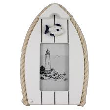 boat photo frame with fish