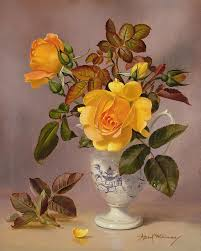 rose painting orange roses in a blue and white jug by albert williams