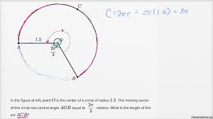 angles arc lengths and trig functions basic example khan academy