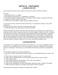 Newspaper Article Critique Example Newspaper Article Critique Example
