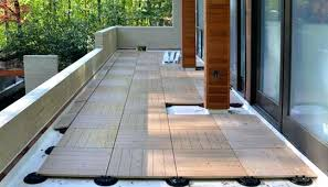 thumb outdoor wood tiles deck on grass