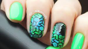 Green Nails - Short Stamping Nail Art | Easy Nail Art Design For ...