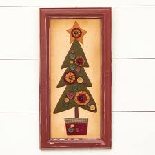 click here for a larger view on primitive framed wall art with primitive framed fabric christmas tree wall art wall art