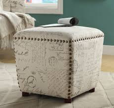 French Ottoman off white & grey french script ottoman caravana furniture 5174 by xevi.us