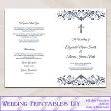 Church Program Template Catholic Wedding Program Template Diy Navy Blue Cross Ceremony