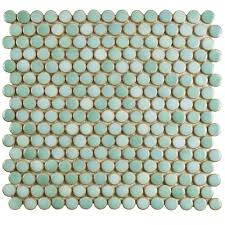Circle Tiles Merola Tile Hudson Penny Round Mint Green 12 In X 12 5 8 In X 5
