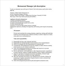 Restaurant Manager Job Description Perfect Screnshoots Agreeable