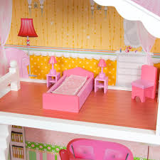 wooden barbie dollhouse furniture. Large Childrenu0027s Wooden Dollhouse Fits Barbie Doll House Pink With Furniture Walmartcom L