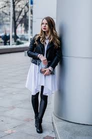 white shirt dress leather jacket black outfit 3