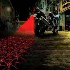 red motorcycle car led laser fog lights rear anti collision warning tail lamp