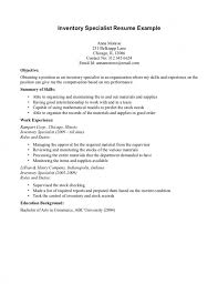 ... Inventory Specialist Resume Sample