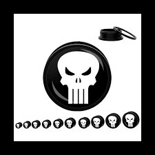 Marvel Comics Acrylic The Punisher Skull Screw-On Plugs Pair ...