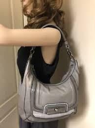 Image is loading Coach-Kristin-Leather-Spectator-Shoulder-Hobo-Bag-Purse-