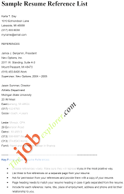 Cover Letter Resume References Format Resume References Guidelines