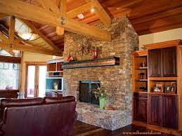 copper fireplace mantel and steel doors craftsman family room