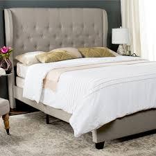 safavieh blanchett light grey linen upholstered tufted wingback