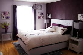 dark purple master bedroom with white bed cover idea