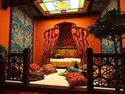 Vibrant room colors, natural fabrics and beautiful decoration patterns,  modern bedroom design and decorating ideas in Arabic style