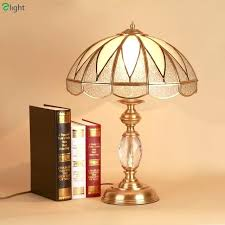 crystal glass lamp retro luxury copper led table lamp re crystal glass bedroom led table lights loft led chandelier glass crystals lamp prisms