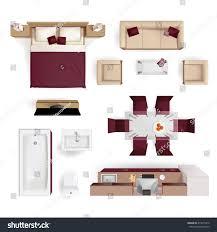 top bedroom furniture. Modern Apartment Living Room Bedroom And Bathroom Furniture Design Elements Top View Image Realistic Vector Illustration D