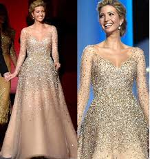 Ivanka Trump Plus Size Chart Ivanka Trump Inaugural Celebrity Dresses 2019 New Champagne Blingbling Beaded Princess Ball Gown Tulle Nude Fashion Evening Gowns Plus Size Bolero