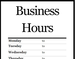 Hours Of Operation Template Free Hours Of Operation Template Microsoft Word Business Hours Template