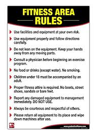 Fitness Area Rules Poster Chart Gym Safety Rules Poster
