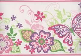 Flower Wall Paper Border Wallpaper Border Watercolor Butterflies On Lime Green On Popscreen