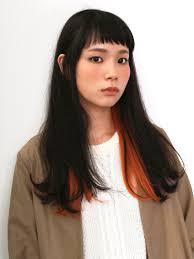 インナーカラーストレート美容室バズヘアーbuzzhair 髪型前髪