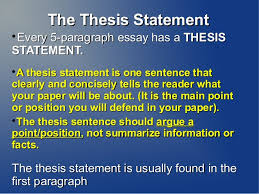 thesis statement five paragraph essay the thesis statement every 5 paragraph essay has a thesisstatement