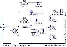 battery charger circuit using scr electronic circuits and 24v 10a battery charger circuit diagram at 24 Volt Battery Charger Diagram