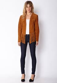 lyst forever 21 contemporary fringed suede jacket in brown