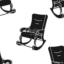 rocking chair silhouette. Rocking-chair Vector Seamless Pattern Isolated On White Background. Rocking Chair Print In Minimal Silhouette S