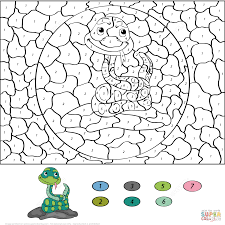 Small Picture Cartoon Snake Color by Number Free Printable Coloring Pages