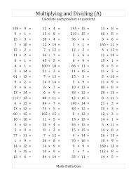 Multiplication And Division Worksheet Math Worksheets Multiplication And Division Worksheets For All 6