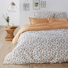 indian flower washed cotton duvet cover fl print la redoute interieurs la redoute