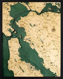 San Fran Depth Chart San Francisco Bay Area Wood Carved Topographic Depth Chart
