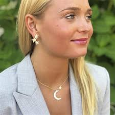 crescent moon and star necklace and earring set