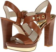 brown leather heeled sandals michael michael kors michl michl kors calder platform